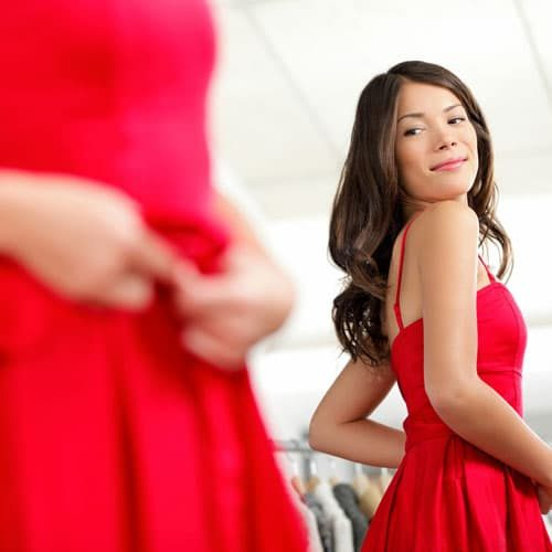 Pain Management Pittston PA Woman Fitting into a red Dress